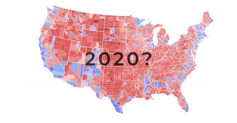 Peter Hart Program Graph - US Map with Red and Blue Voting Districts and text overlay that displays 2020?